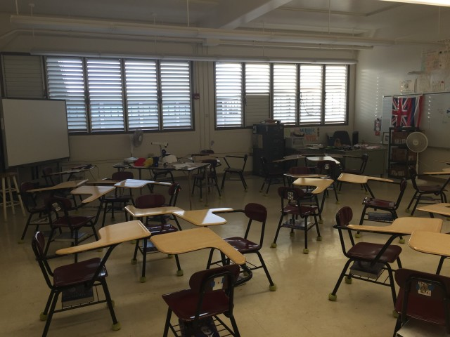 Each day's destination: My classroom at Campbell High School.