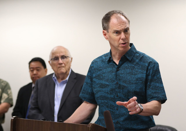 Alexander Baldwin President CEO Chris Benjamin makes a point during press conference announcing restoration of water to upcountry Maui. 20 april 2016.