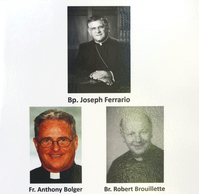 Father Anthony Bolger Father Robert Brouillette Bishop Joseph Ferrario. 13 april 2016