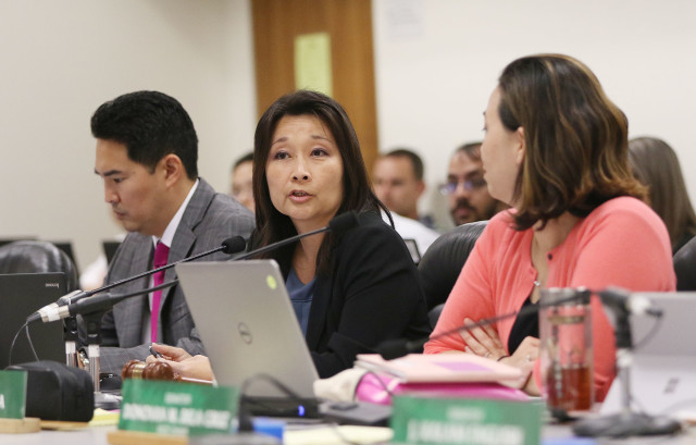 House Finance Chair Sylvia Luke and Senate WAM chair Jill Tokuda in meeting. 21 april 2016.