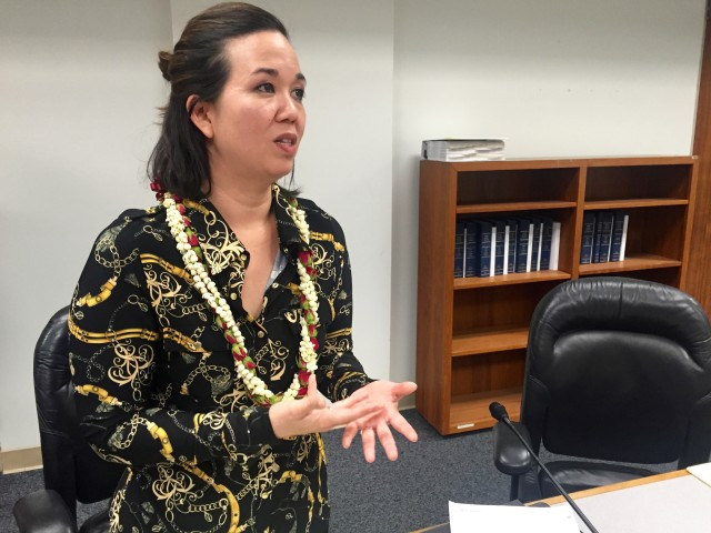 Sen. Jill Tokuda speaks to reporters after the Ways and Means hearing on the overall state budget bill, Tuesday.