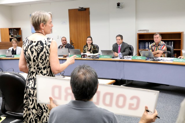 Health Director Dr. Ginny Pressler explains to the Senate Ways and Means Committee that the department needs $160 million for the Hawaii State Hospital, Tuesday. She brought the sign from the Goddard Building, which is being demolished to make room for a new facility.