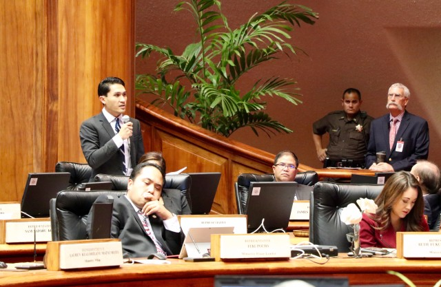 Rep. Kaniela Ing, who represents south Maui, speaks out against the Maui water-rights bill before it passed the full House on Thursday. Rep. Feki Pouha, in the foreground, also voted against it.