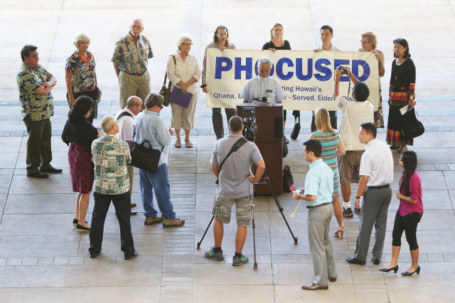 PHOCUSED press conference with Senate President Ronald Kiuchi at left in the Capitol rotunda. 13 april 2016.