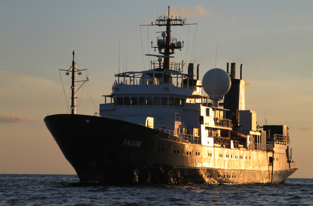 The Falkor, built in Germany in 1982 as a fisheries protection vessel, was converted to the flagship research ship of the Schmidt Ocean Institute in 2012.