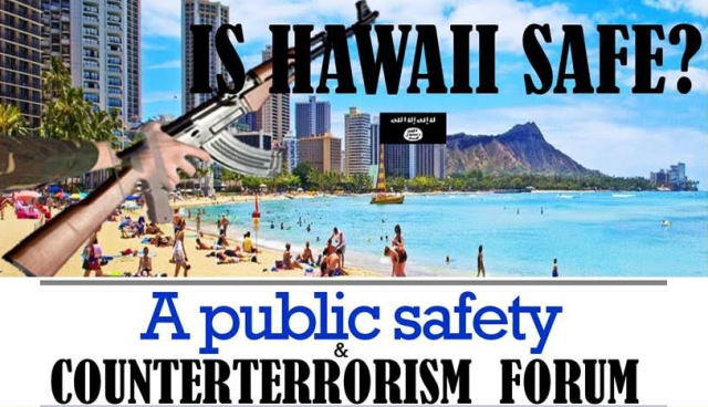 Hawaii Rep. Gene Ward is using this image to promote his public safety and counterterrorism event.