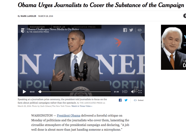 As reported by the New York Times, President Barack Obama last month excoriated journalists for their shallow coverage of election politics.