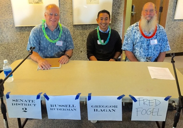 State Sen. Russell Ruderman and two men who want his job: Hawaii County Council member Greggor Illagan and Libertarian Fred Fogel.