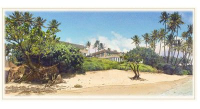 Alexander & Baldwin wants to build condominiums on a single oceanfront lot at 4607 Kahala Ave. This artist rendering shows the beach view.