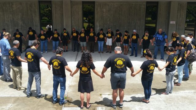 "05-27-16 Members os group ""Try wait"" celebrate as BLNR amends administrative rules to establish a Marine reserve as a 10-year ""no take"" area in the Big Island."