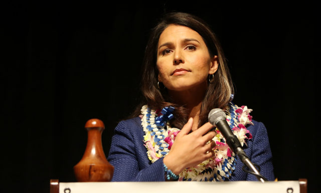 Congresswoman Tulsi Gabbard speaks on 2nd day of the Hawaii State Democratic Convention. 29 may 2016.