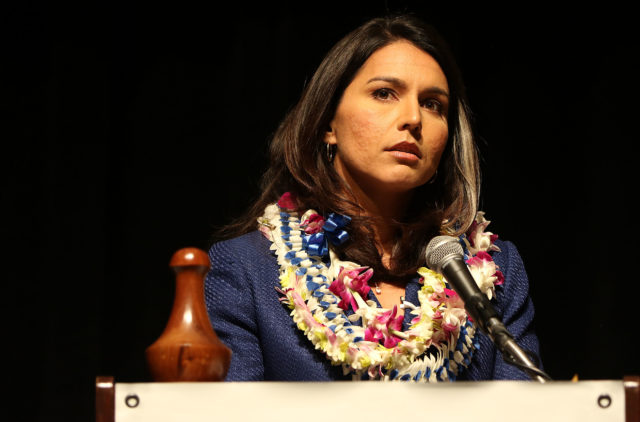 Congresswoman Tulsi Gabbard speaks on 2nd day of HI State Democratic Convention. 29 may 2016.