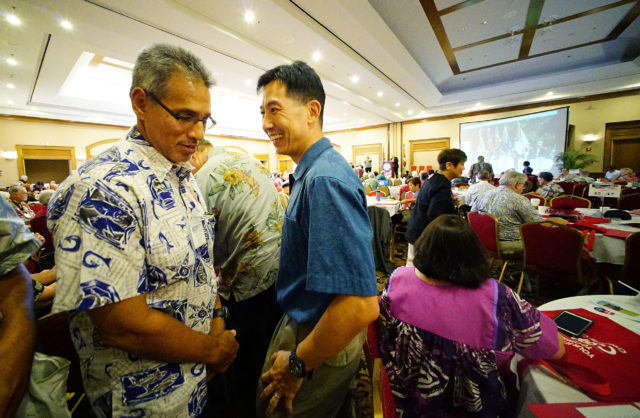 Left, Duke Aiona and Charles Djou chat during the GOP convention held in Waipahu's FILAM. 21 may 2016.