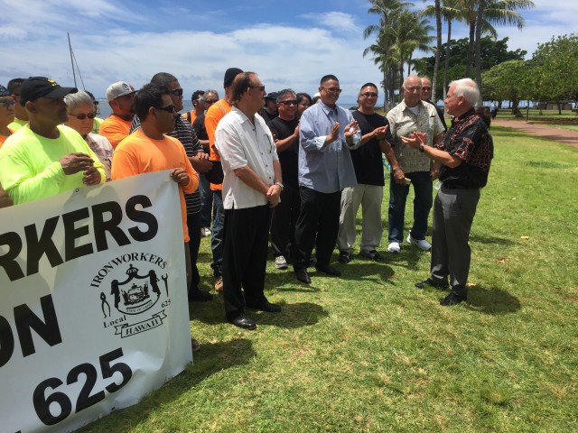 Mayor Caldwell was endorsed by two unions at Magic Island Wednesday.