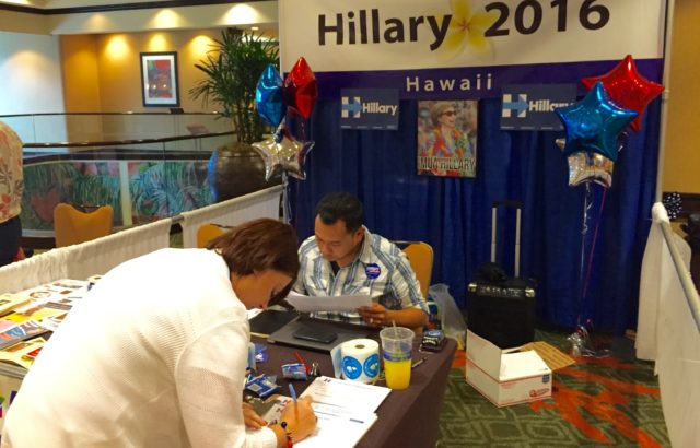 Many political candidates had informational booths on display outside the Sheraton Ballroom.
