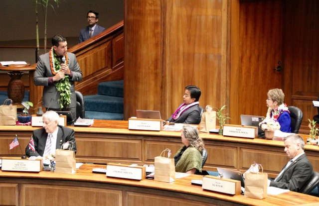 Sen. Kai Kahele adresses his colleagues on a resolution seeking protection of makai lands of Kapua in the Big Island.