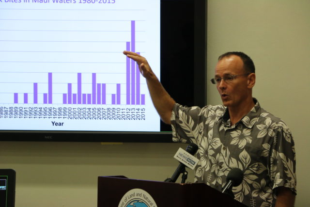 Carl Meyer was principle investigator for a two-year study on tiger shark behavior around Maui.