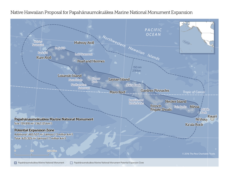 This map shows the proposed expansion of Papahanaumokuakea Marine National Monument.