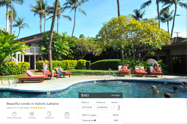 This Airbnb listing in Lahaina is one of hundreds for short-term rentals in Hawaii on the rapidly growing website.