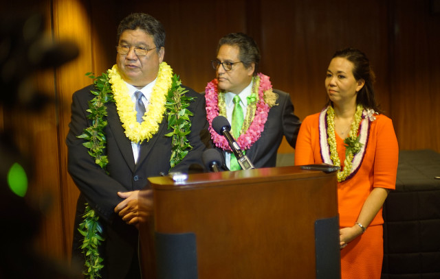 Senate President Ron Kouchi, Senator Kalani English and right, Senator Jill Tokuda in press conference held after last session. 5 may 2016