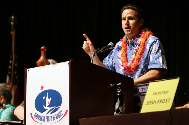Senator Brian Schatz gestures on 2nd day of the Hawaii State Democratic Convention. 29 may 2016