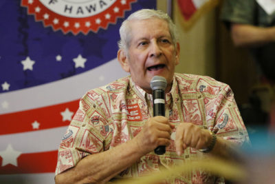Senator Sam Slom speaks during GOP convention held at the FILAM in Waiphau. 21 may 2016.