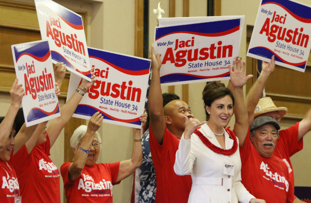 State House candidate Jaci Agustin during GOP paarade of candidates. 21 may 2016.