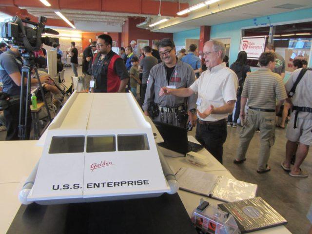 At the last Honolulu Mini Maker Faire, Roger Garrett, founder of the Hawaii Inventors Association, displayed his replica Star Trek Galileo shuttlecraft.