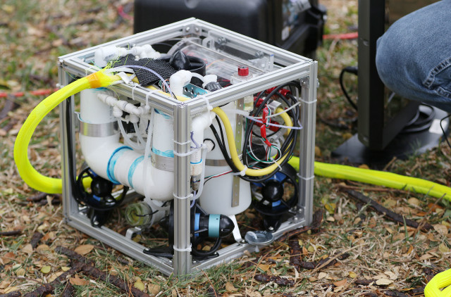 Underwater robot designed and built by Pearl City High School students during the MATE Oahu Regional Competition held at US Coast Guard Base Honolulu. 14 may 2016.