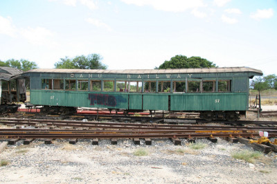 The remains of a passenger car from the old Oahu Railway, which ceased operations in the late 1940s.