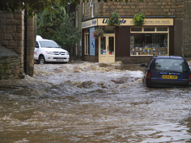 Heavy rains caused the River Wansbeck to flood the town of Morpeth, England in September 2008.