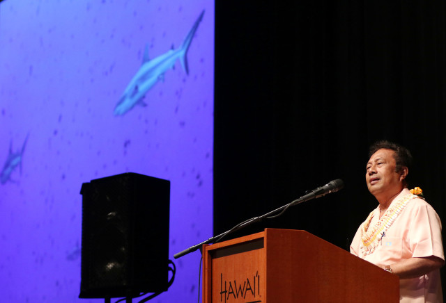 alau President Tommy Remengesau speaks on opening day of the 13th annual Coral Symposium held at the Hawaii Convention Center. 20 june 2016