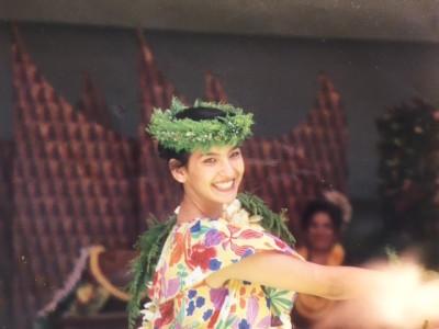 A young Georgianna DeCosta dancing hula