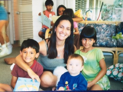 Georgianna DeCosta, photographed with her three children while in rehab after she got out of jail.