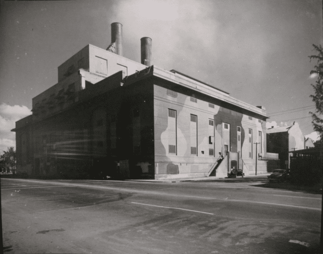 In an effort to protect the island's electricity infrastructure during the war, the Honolulu Power Plant downtown was painted in military style.
