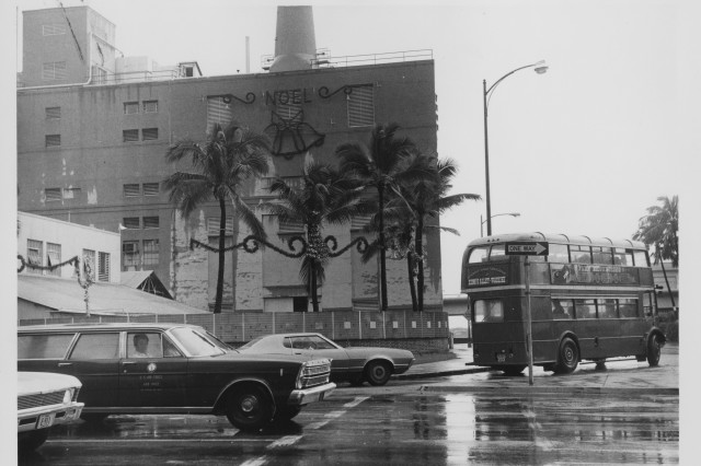 The Honolulu Power Plant, shown here in 1973, became integrated into urban life downtown. But powering it with oil became an expensive proposition in the 1970s.