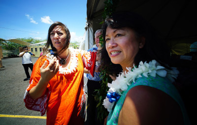IHS Executive Director Connie Mitchell, Mayor Caldwell and left, IHS Chaplain Terry Yasuko Ogawa about to untie the maile lei at the blessing of Institute of Human Services' Hale Mauliola, Sand Island. 27 june 2016