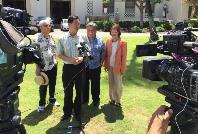 Walter Heen, Charles Djou, Ben Cayetano and Ann Kobayashi at Honolulu Hale Wednesday.