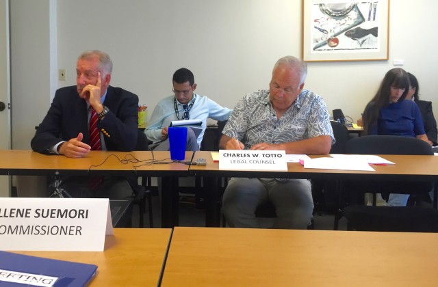 Former Honolulu Mayor Peter Carlisle, city spokesperson Andrew Pereira, Ethics Director Chuck Totto and community activist Natalie Iwasa at the Honolulu Ethics Commission Wednesday.