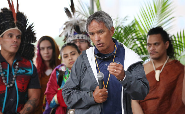 Nainoa Thompson speaks to hundreds gathered to greet Hokulea at New York City's North Cove Pier. 5 june 2016