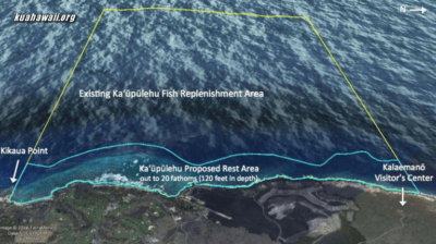 "The new Kaupulehu Marine Reserve is within the space defined as ""proposed rest area."""