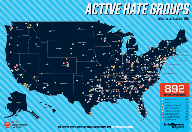 US map of hate groups 2015