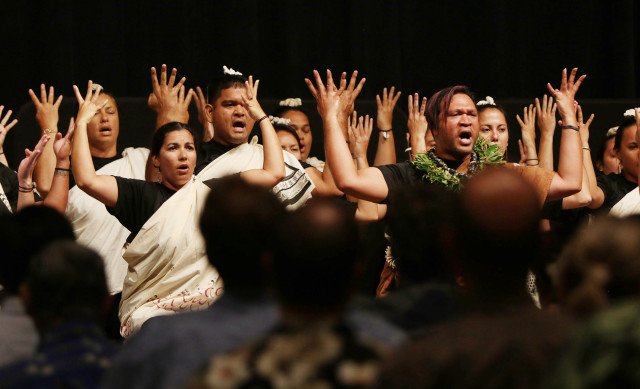 UH Hilo studetns chant to welcome the 13th international Symposium on Coral Reefs at the Hawaii Convention Center. 20 june 2016