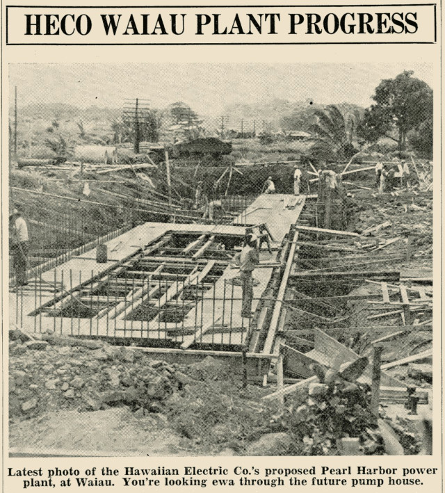 HECO produced a poster to convey the progress of construction of the Waiau Power Plant at Pearl Harbor in September of 1937.