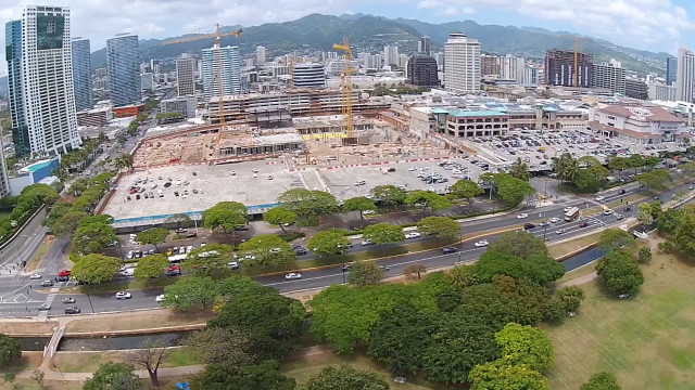 A drone's-eye-view of the construction at Ala Moana Center in 2014.