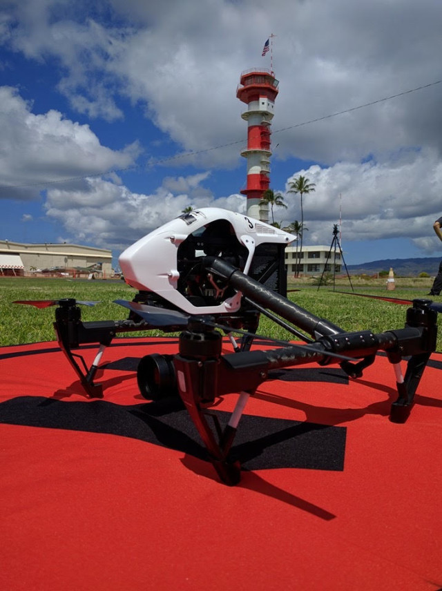 An aerial video drone set up on historic Ford Island to capture footage of Pearl Harbor for an upcoming World War II documentary.