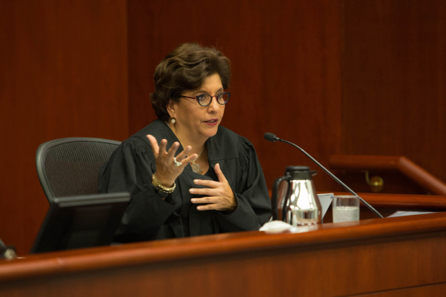 Judge Mary Murguia questions attorneys during Wednesday's hearing.