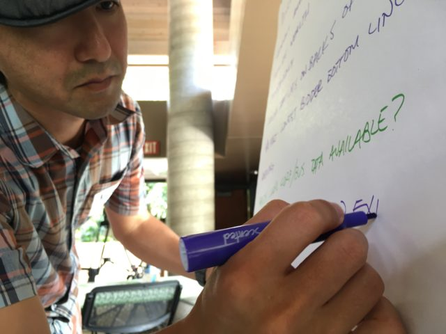 Software developer Kyle Oba helps his team map out their idea for a community transparency app.