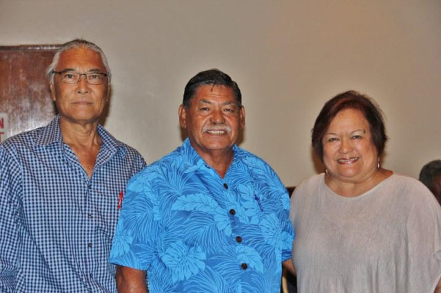 From left, Western Pacific Regional Fishery Management Council Chair Edwin Ebisui Jr., CNMI Acting Gov. Victor Hocog and Council Executive Director Kitty Simonds at the opening of Wespac's meeting in Garapan, CNMI.