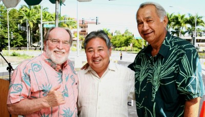 Gov. Neil Abercrombie, left, appointed the late Gil Kahele, right, to fill the empty Senate seat in 2011. Councilman Onishi, center, worked closely with Kahele on issues affecting Hilo.